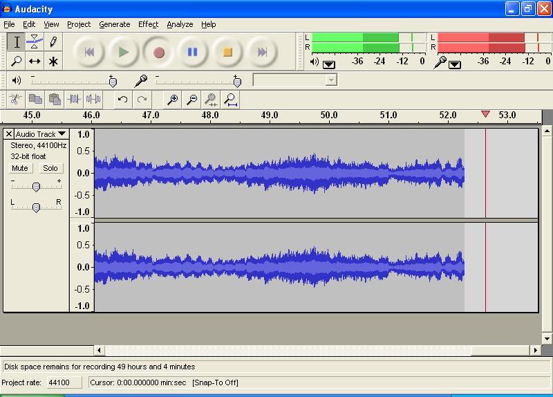 Audacity software for audio recording